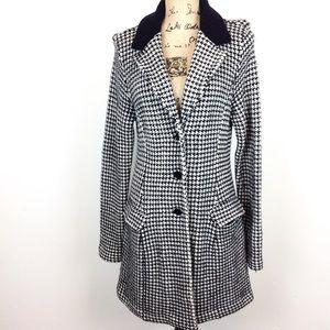 Ralph Lauren Wool Blend Houndstooth Knit Coat L @